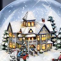 Музыкальный снежный шар с подсветкой, сделанный по мотивам картин  Томаса Кинкейда.