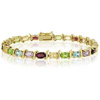 Glitzy Rocks 18k Gold over Silver Gemstone Link Bracelet (Glitzy Rocks 18k Gold over Silver Gemstone Link Bracelet)