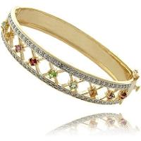 Gem Jolie 14k Gold Overlay Multi-gemstone and Diamond Accent Bracelet (Gem Jolie 14k Gold Overlay Multi-gemstone and Diamond Accent Bracelet)