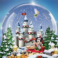 Музыкальный снежный шар с тринадцатью персонажами Диснея, сделанный по мотивам картин  Томаса Кинкейда.
