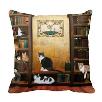 Library cats throw pillows. (Library cats throw pillows.)