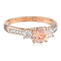 10k Rose Gold Morganite and Diamond Ring (0.05 cttw GH, Color, I1-I2 Clarity). (10k Rose Gold Morganite and Diamond Ring (0.05 cttw GH, Color, I1-I2 Clarity).)